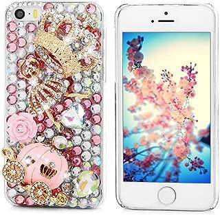 Mavis's Diary Luxury Series for iPhone 5C Handmade 3D Crytal Diamonds Cinderella Fairy Tale Design Clear Hard Back Cover with Clean Cloth - Pumpkin Carriage