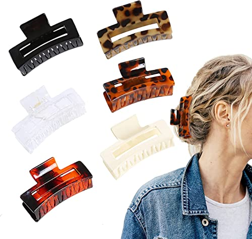 6PCs Hair Clips Acrylic Hair Banana Barrettes French Butterfly Jaw Clips Grip Hair Clamp - Leopard Print Stylish Hair Accessories for Women Girls, 3.3 Inch Large Hair Claw Clips
