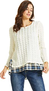 SONJA BETRO Women's Cable Knit Side Tie Contrast Hem Tunic Pullover Top