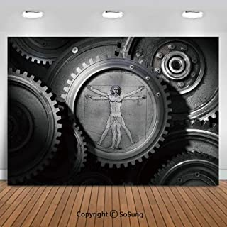 8x8Ft Vinyl Industrial Decor Backdrop for Photography,Wheels of the System with Medieval Old Human Body Animation Device Gears of the Whole Theme Background Newborn Baby Photoshoot Portrait Studio Pro