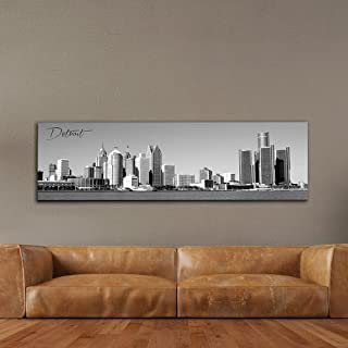 """WallsThatSpeak Panoramic Detroit Cityscape Picture, Black and White Stretched Canvas Art Prints, Wall Decoration for Bedroom or Office, Framed and Ready to Hang, 14"""" x 48"""""""