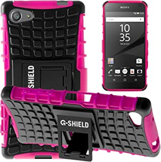 G-Shield Case for Sony Xperia Z5 Compact, Shock Absorption Cover with Kickstand, Hot Pink