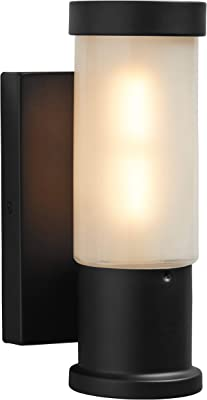 Amazon Brand – Rivet Cylindrical Wall Sconce With LED Light Bulb - 4.73 x 4.32 x 9.73 Inches, Black