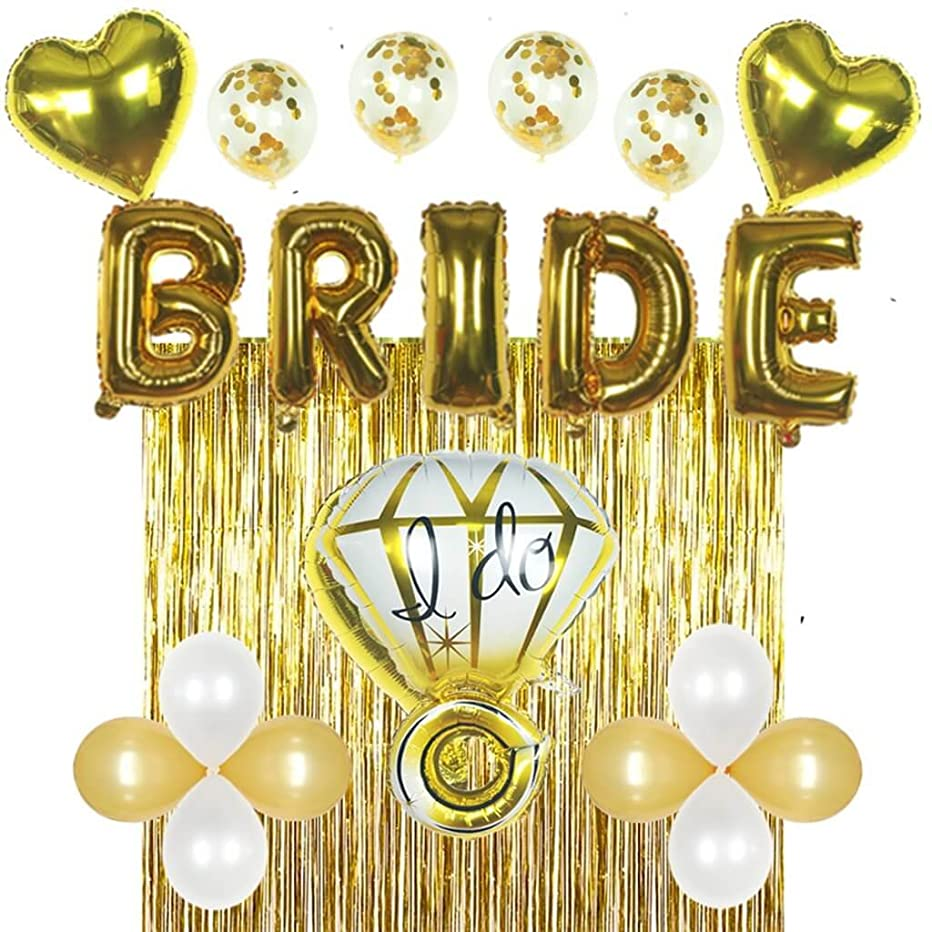 Bridal Shower & Bachelorette Party Decorations kit Gold – Set Includes 1 Fringe Curtain, 1 Set of foil Bride Balloons, 1 Ring Balloon, 2 Heart Balloons, 4 Confetti Balloons, 4 Gold & 4 White Balloons