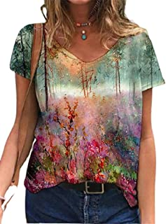 DressU Womens Short-Sleeve Baggy Floral Spring Pullover V Neck Tunic Tshirt Tops