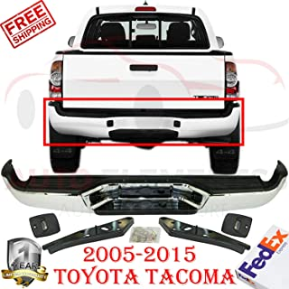 New Rear Step Bumper Complete Assembly Chrome Steel For 2005-2015 Toyota Tacoma Base Pre Runner Extended/Standard Cab Pickup Direct Replacement TO1103113 5215104061-PFM