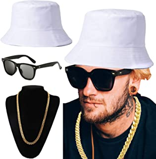white and gold bucket hat