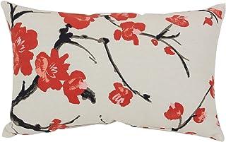 Pillow Perfect Coussin décoratif rectangulaire en Forme de Branche de Fleur, 46 cm x 29 cm, Beige/Rouge