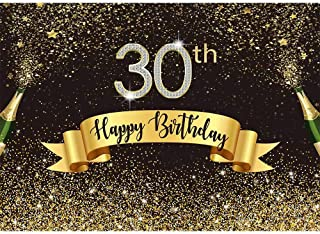 Allenjoy 7x5ft Happy 30th Birthday Black and Gold Backdrop Shiny Glitter Golden Dot Thirty Years Old Age Adults Photography Background Glamour Sparkle Party Banner Decors Celebration Event Photo props