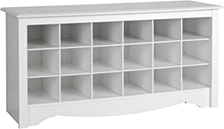 prepac white shoe storage cubbie bench