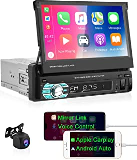 $134 » Apple CarPlay Single Din Car Stereo 7 inch Fold Up Touch Screen Car Radio Android Auto Support Bluetooth/FM Radio Receive...