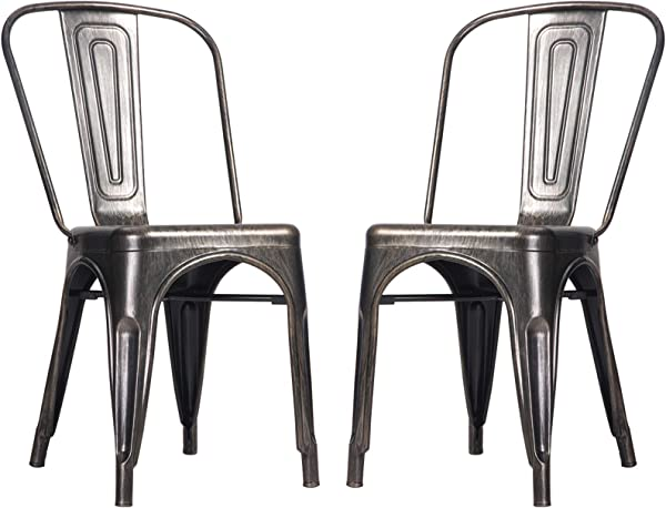 Merax Metal Dining Chair High Back Stackable Kitchen Chairs Set Of 2 Black Golden