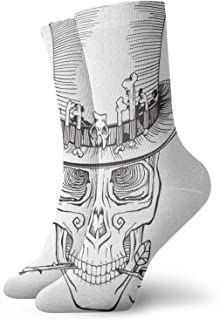 Human Skull Top Hat Baron Samedi Mens Athletic Crew Socks Basketball Cushioned Sport Long Compression Socks