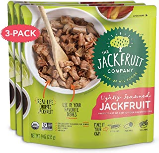 The Jackfruit Company, Lightly Seasoned Jackfruit Meal, Organic, Vegan, Keto, Fully Cooked, Gluten-Free, Dairy-Free, Nut-Free, Non-GMO, Soy-free, Plant Based Meat Replacement (3 Pack)