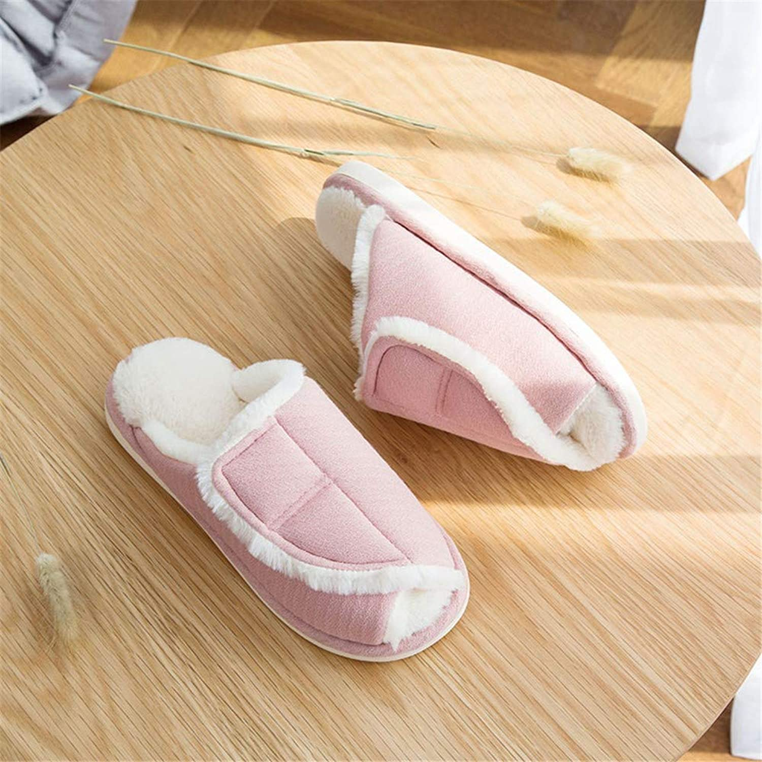 NIGHT WALL Comfortable Slip-on Winter Autumn and Winter Couples Simple Velcro Open Cotton slippersnon-Slip Warm Home Men's shoes, 2,38House shoes Indoor & Outdoor