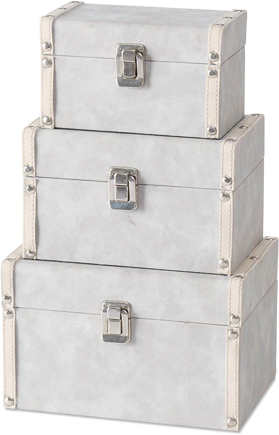 3 Piece Silver Studs Box Set Faux Max 55% OFF Leather and Fabri 40% OFF Cheap Sale Grey Suede