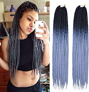 MSCHARM 6 Packs 24 Inch Box Braids Crochet Braiding Hair Synthetic Hair Extension 22 Strands/Pack(Black to Silver Grey)