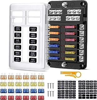 Caja Fusibles 12V, 12 Vías Caja de Fusibles Coche Portafusibles con Lámpara de Alerta LED Kit Bloque de Fusibles Plano AT...