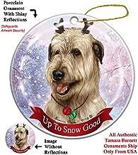 Holiday Pet Gifts Wheaten Irish Wolfhound Dog Porcelain Christmas Ornament
