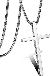 BESTEEL Gioielli Acciaio Inossidabile Collana Croce per Uomo Donna Collana Bibbia Religiosa con Pendente Croce Collana Ser...