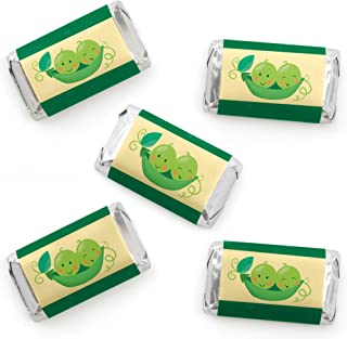 Big Dot of Happiness Double the Fun - Twins Two Peas in a Pod - Mini Candy Bar Wrapper Stickers - Baby Shower or First Birthday Party Small Favors - 40 Count