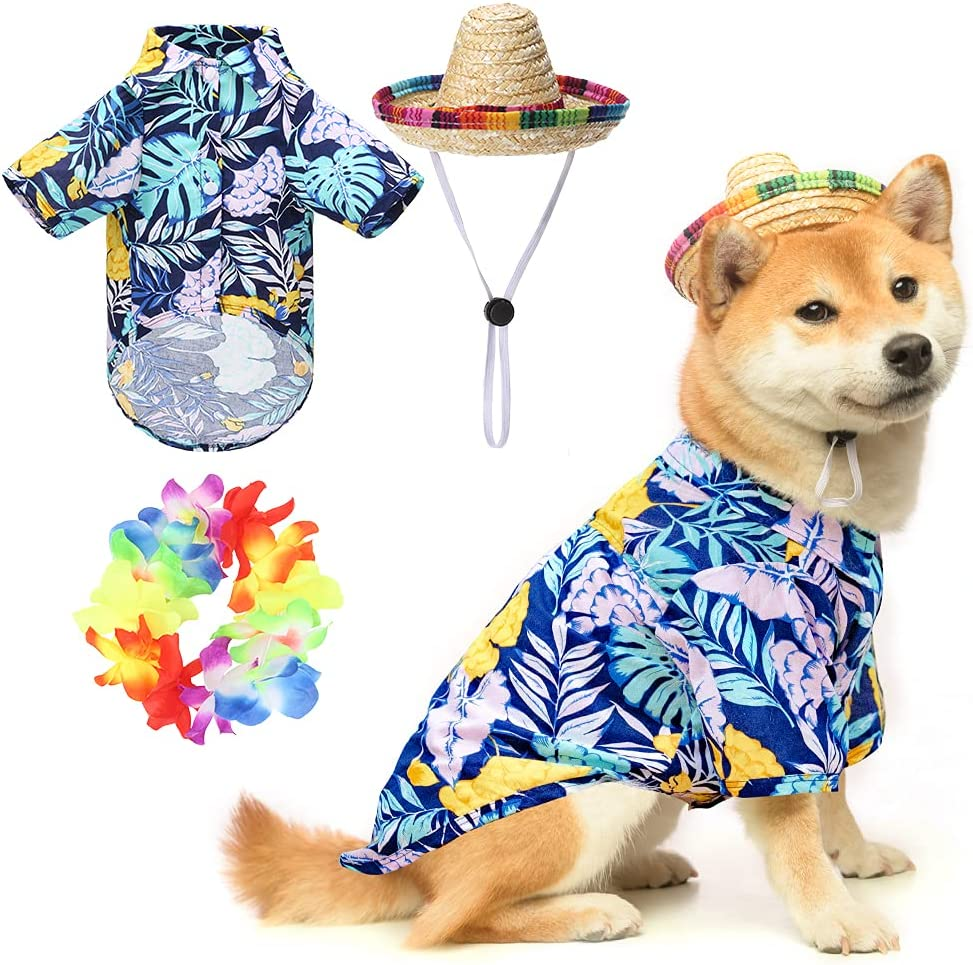 EXPAWLORER Hawaiian Dog T-Shirt Set - Summer Pet Clothes Apparel with Straw Hat and Garland for Small Medium Large Dogs : Pet Supplies