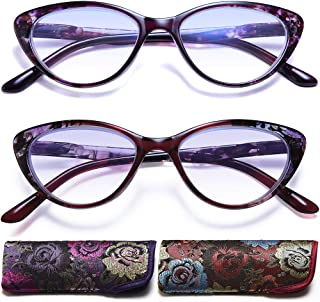 Cat eye Reading Glasses for Womens - 2 Pack of Blue Light Blocking Readers +1.25 Spring Hinge Pattern Design Computer Eyeglass Choose Your Magnification