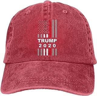 Women Vintage Trump 2020 USA Thin Red Line Flag Washed Denim Baseball Cap Dad Hat Cotton Pigment Dyed Denim Hat Black