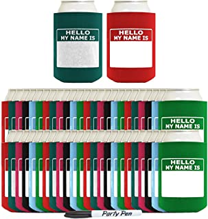 Funny Can Coolie Hello, My Name Is Funny Badge and Permanent Marker Multi Pack Name Tag 48 Pack Can Coolie Drink Coolers Coolies Multi