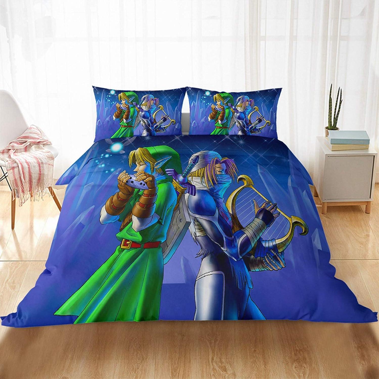 A,135/×200cm Incluye 1 Funda N/órdica y 1//2 Funda de Almohada,Funda de edred/ón de Infantil Juvenil Microfibra MMYANG Juego de Ropa de Cama Reversible The Legend of Zelda 3 Piezas