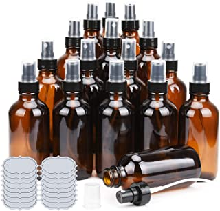Amber Glass Spray Bottles 4oz ULG Fine Mist Sprayers Empty Spray Atomizer for Essential Oils Aromatherapy Cosmetic Sprays Including Waterproof DIY Labels 16 Piece