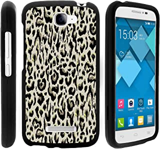 Snap On Compatible with Alcatel One Touch Fierce 2 7040T, Slim Fit Snug Rubberized Custom Cover Shell Black Pop Icon A564C by TurtleArmor - Leopard Print