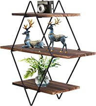 Wisfor Rustic Floating Shelves Wood, Diamond Wall Mounted Shelves Wooden and Metal Decorative Shelf Kitchen Wall Shelves f...