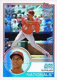 2018 Topps Update 1983 Design Chrome Silver Refractor Baseball #134 Juan Soto Rookie Card