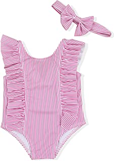 59d8ae233a Baby Girl Bikini Striped Beach Swimsuit Ruffles Bathing Suit Swimwear+Headband  2 Pcs Set