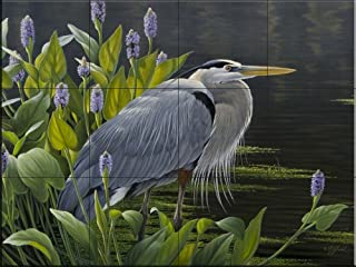 Ceramic Tile Mural - Biding Time Great Blue Heron- by Wilhelm Goebel - Kitchen backsplash/Bathroom Shower