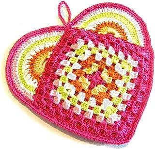 Agarradera fucsia en forma de corazón de ganchillo - Tamaño: 18 cm x 15.5 cm H - Handmade - ITALY