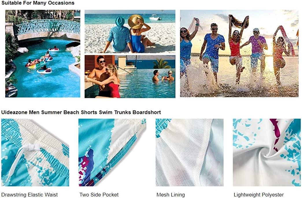 Mens Flamingo Fever Comfortable Quick Dry Swim Trunks Elastic Drawstring Swim Shorts with Pocket