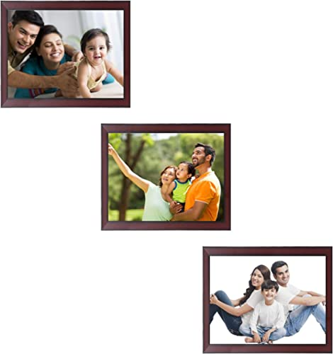 Amazon Brand - Solimo Collage Photo Frames, Set of 3, Wall Hanging (3 pcs - 8x10 inch), Rosewood Color