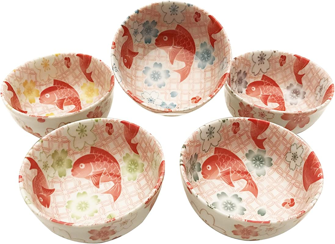 Quality Japanese Dinnerware Ceramic Rice Bowl 5pc Set Japanese Tai Snapper Fish And Cherry Blossom Sakura Assorted Colors Symbol Of Surplus Prosperity Gift Pack Made In Japan New Year Gift