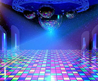 Gardenia 10x8ft Disco Lights Background with Mirror Balls and Shining Stars 90s Hip Hop Party Colorful Photo Photography Background Studio Props 4167