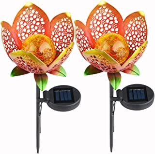 Ydecor 2 Pack Solar Lights Outdoor Pathway Crackle Glass Globe Metal Stake Lights,Garden Lights Solar Powered Flower Shape for Lawn,Patio,Courtyard