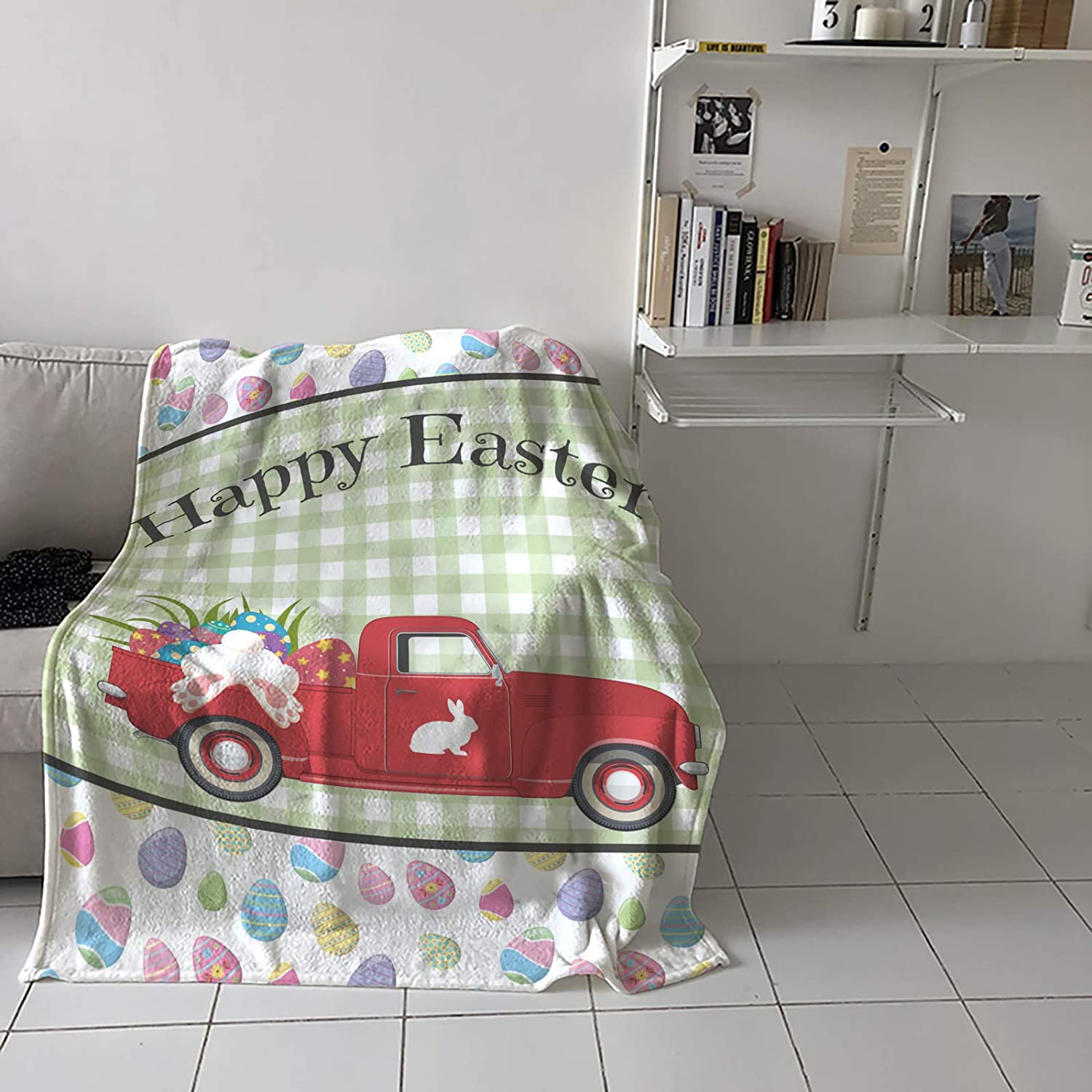 Flannel Fleece Throw Blanket for Couch Bed Happy Easter or Sofa Large special safety price