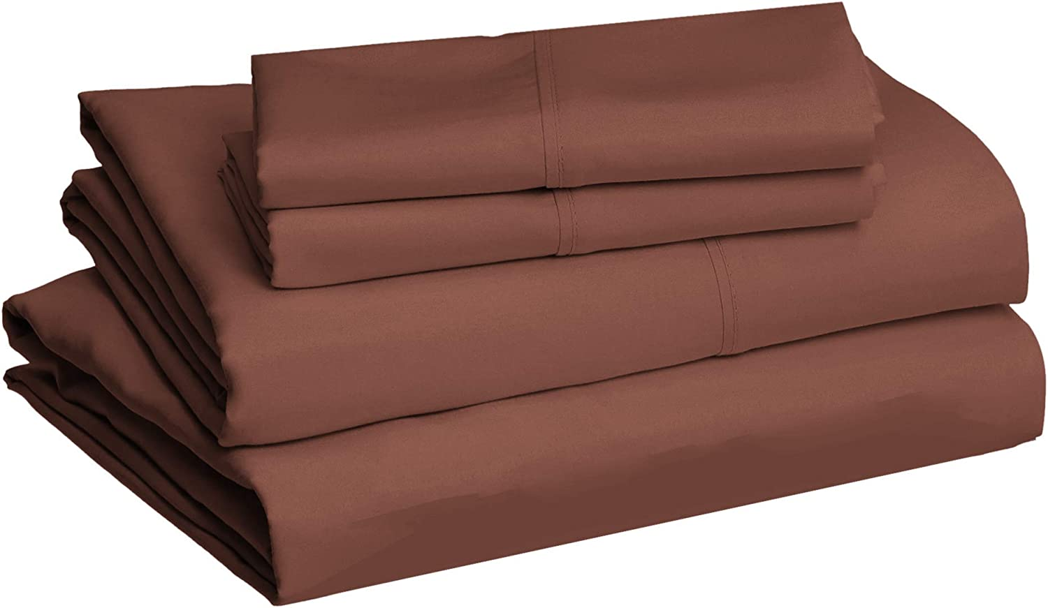 Amazon Basics Lightweight Super Soft Easy Care Microfiber Chocolate Color Bed Sheet