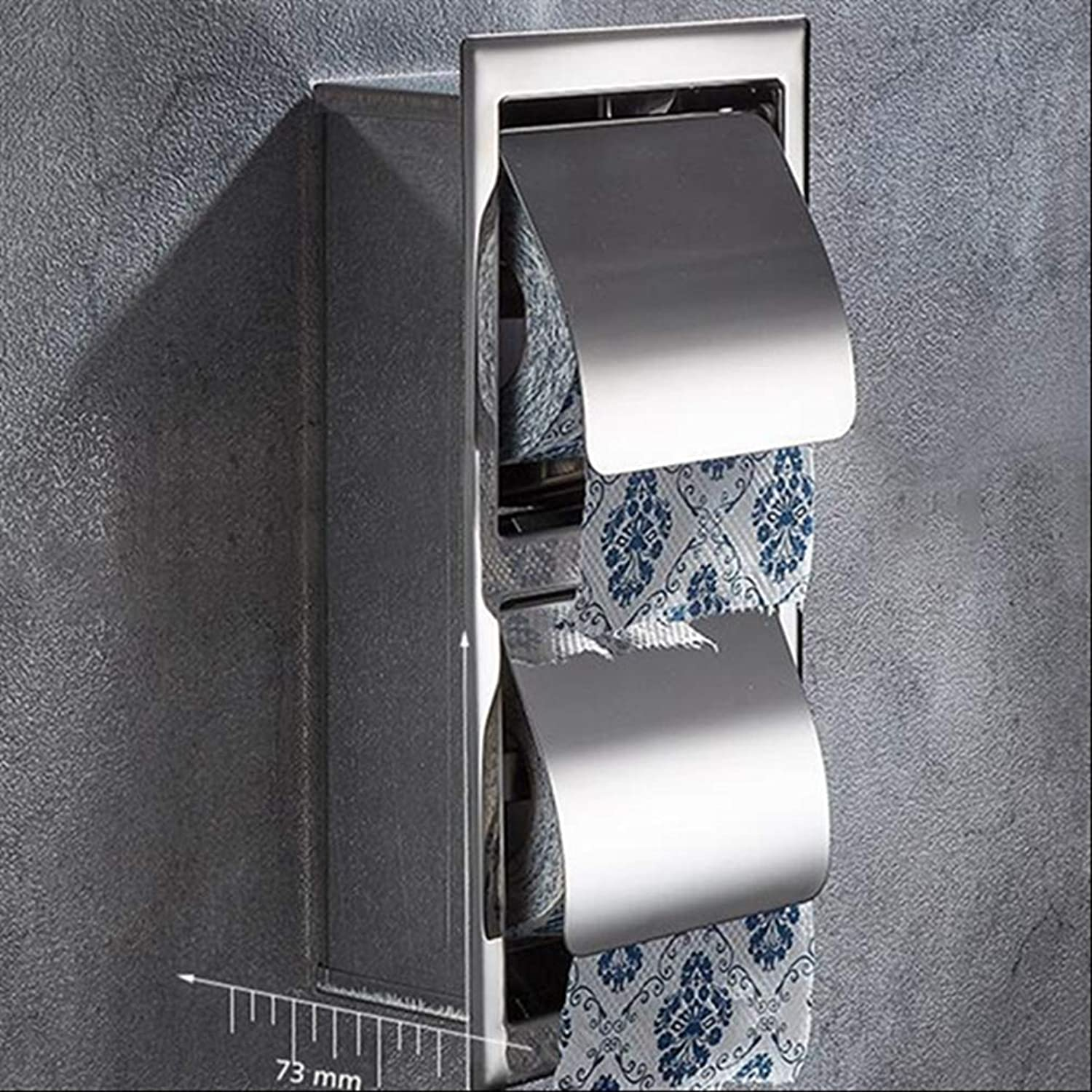 LUDSUY Luxury Sus Stainless Steel Bathroom Toilet Roll Paper Holder Box Concealed Wall Mounted Recessed Tissue Paper Holder,C