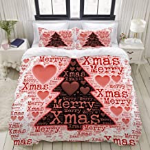 HKIDOYH Duvet Cover Set,Merry Xmas Christmas Words with Pine Tree,Polyester 3 Piece Bedding Set with 2 Pillow Cases,Single
