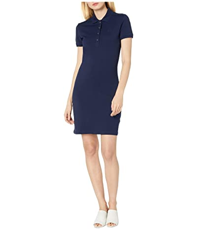 Lacoste Short Sleeve Slim Fit Stretch Pique Polo Dress (Navy Blue) Women