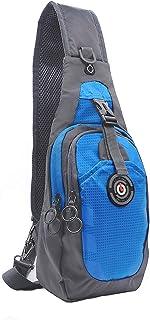 Sling Bag, RFID Blocking Tiny Compact Shoulder Bag, for Men Women Travel Gym Sport Hiking (Nylon, Blue)