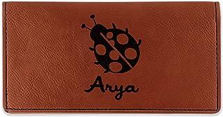 Ladybugs & Gingham Leatherette Checkbook Holder - Double Sided (Personalized)