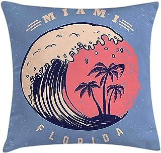 4 Piezas 18X18 Pulgadas Funda De Cojín De Almohada De Playa De Florida,Diseño De Póster De Olas Oceánicas Y Palmeras,Funda De Almohada Decorativa Cuadrada para Decoración del Hogar